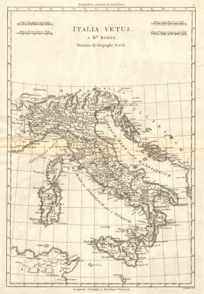 Associate Product Italia Vetus. Ancient or Roman Italy. BONNE 1789 old antique map plan chart