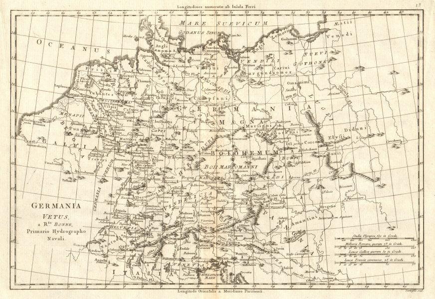 Associate Product Germania Vetus. Ancient Germany. Netherlands Switzerland. BONNE 1789 old map