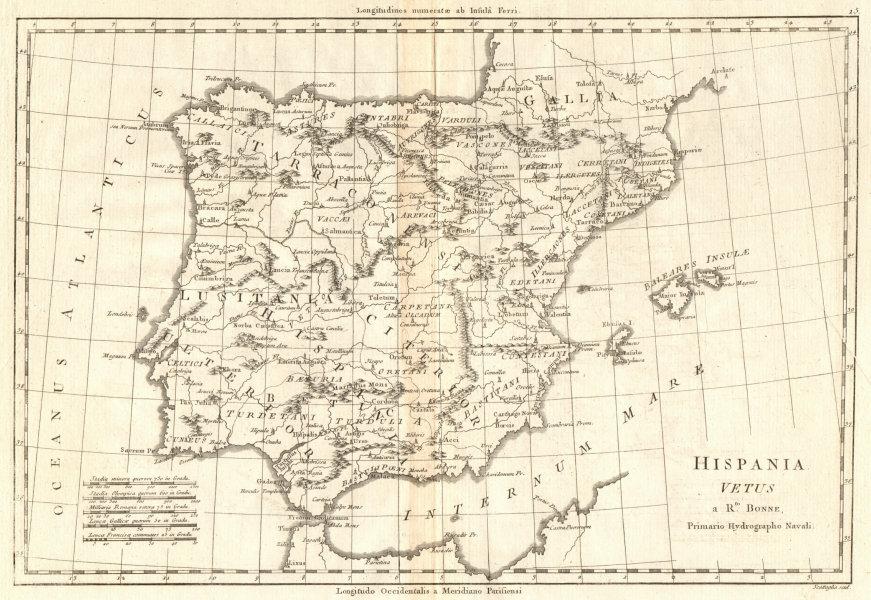 Associate Product Hispania Vetus. Ancient Iberia. Lusitania. Spain & Portugal. BONNE 1789 map