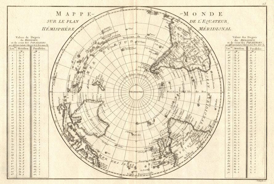 Associate Product Mappe-monde sur le plan de l'Equateur, hemisphere Méridional. BONNE 1789