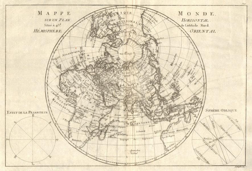 Associate Product Mappe-monde sur un plan horisontal… à 45°N hemisphere Oriental. BONNE 1789