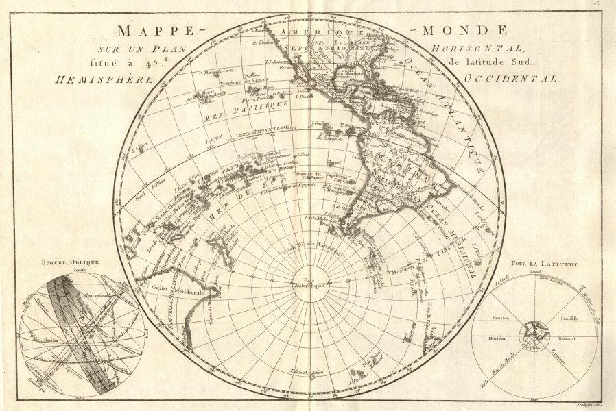 Associate Product Mappe-monde sur un plan horisontal… à 45°S hemisphere Occidental. BONNE 1789