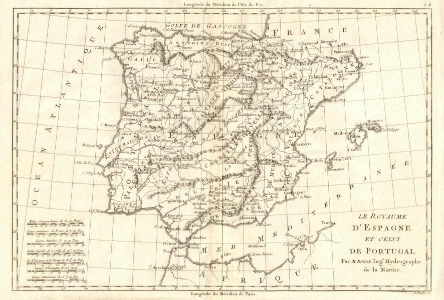 Associate Product Le Royaume d'Espagne et celui de Portugal. Spain. Iberia. BONNE 1789 old map