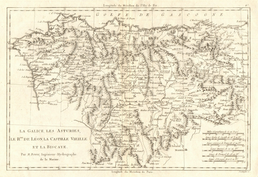 Associate Product Galice, Asturies, Léon, Castille vieille & Biscaye. NW Spain. BONNE 1789 map