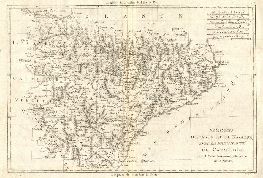 Associate Product Royaumes d'Aragon et de Navarre avec… Catalogne. Catalonia Spain. BONNE 1789 map