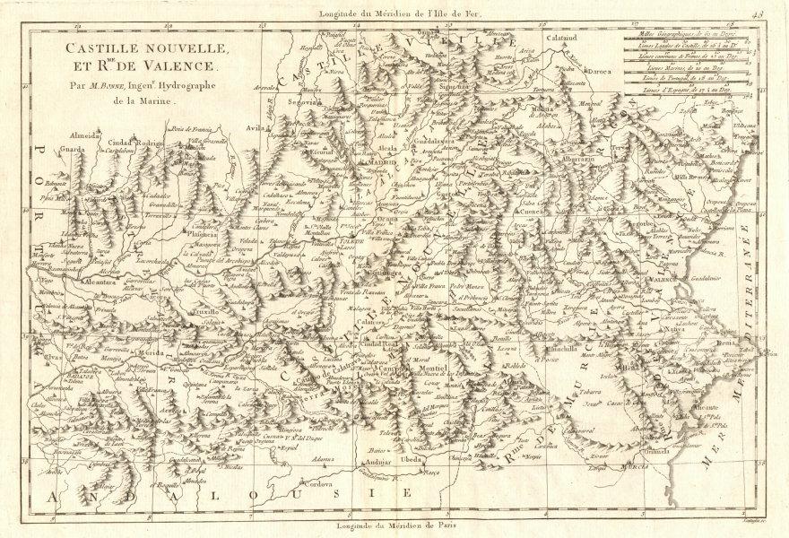 Associate Product Castille Nouvelle et Royaume de Valence. New Castile. Valencia. BONNE 1789 map