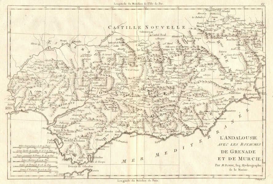 Associate Product L'Andalousie, avec… Grenade et Murcie. Andalusia Granada Murcia. BONNE 1789 map