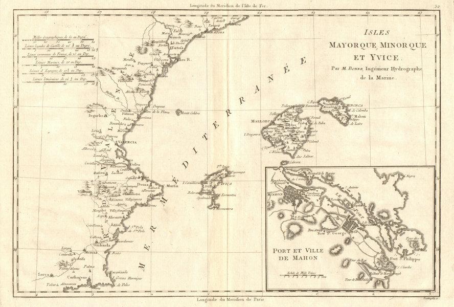 Associate Product Iles Mayorque, Minorque et Yvice. Mahon. Majorca Menorca Ibiza. BONNE 1789 map