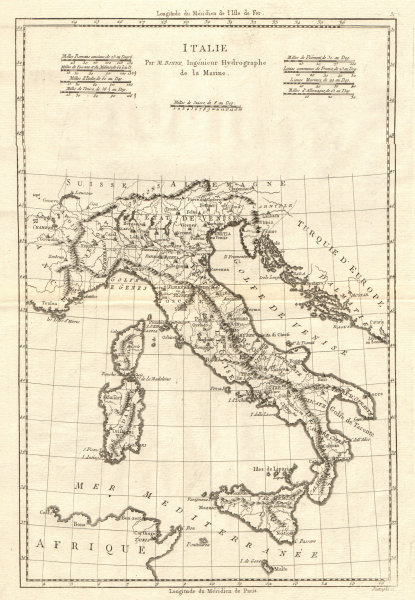 Associate Product Italie. Antique map of Italy. BONNE 1789 old vintage plan chart