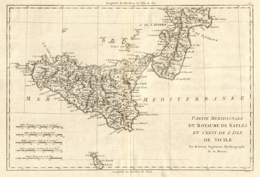 Partie Méridionale du Royaume de Naples &… Sicile Calabria Sicily BONNE 1789 map