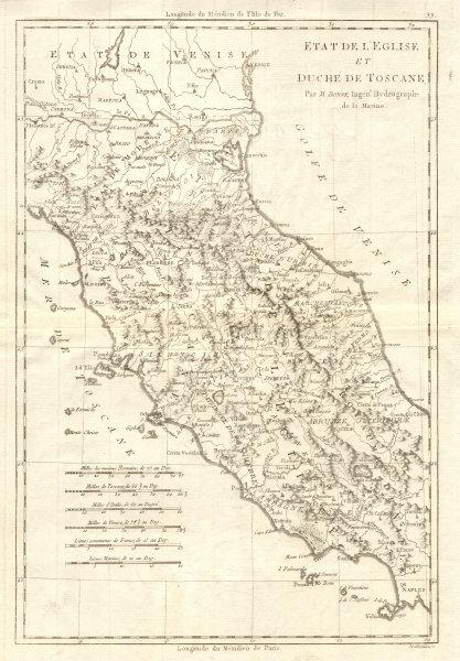 Associate Product Etat de l'Église et Duché de Toscane. Papal States & Tuscany. BONNE 1789 map