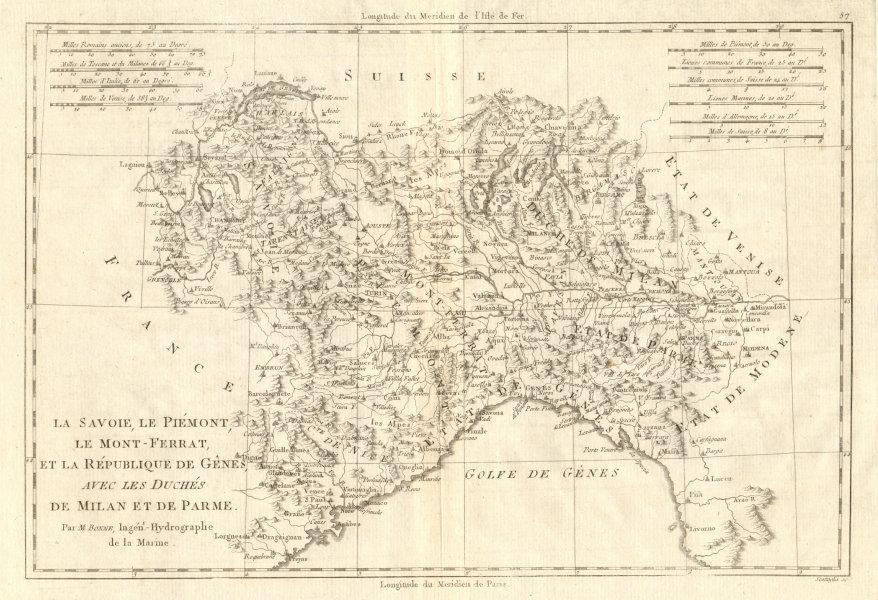 Associate Product Savoie, Piémont, Montferrat, Genes, Milan & Parme. Genoa NW Italy BONNE 1789 map