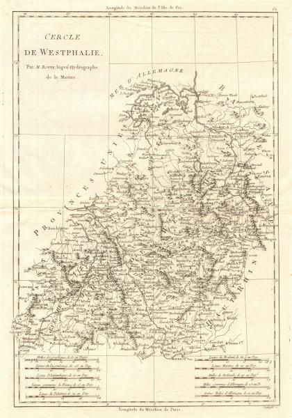 Associate Product Cercle de Westphalie. Circle of Westphalia. North-west Germany. BONNE 1789 map