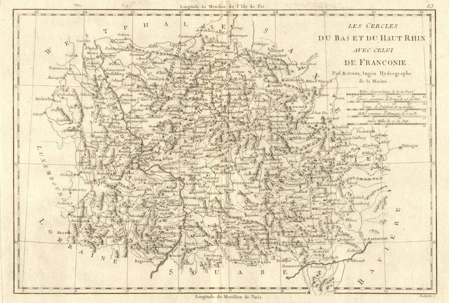 Associate Product Les Cercles du Bas et du Haut Rhin avec… Franconie. Germany. BONNE 1789 map