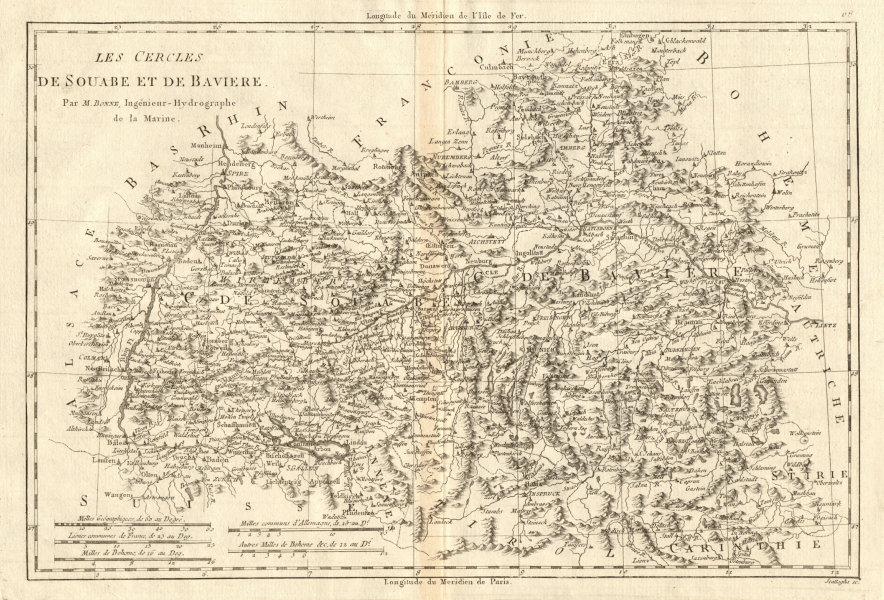 Associate Product Les Cercles de Souabe et de Baviere. Circles of Swabia & Bavaria. BONNE 1789 map