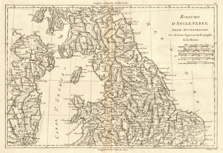 Associate Product Royaume d'Angleterre partie Septentrionale. England & Wales North BONNE 1789 map