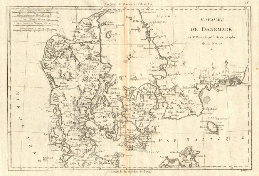 Associate Product Royaume de Danemark. Kingdom of Denmark. BONNE 1789 old antique map plan chart