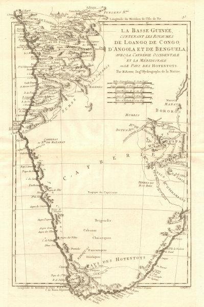 Associate Product La Basse-Guinée… Loango, Congo, AngoIa & Benguela Southern Africa BONNE 1790 map