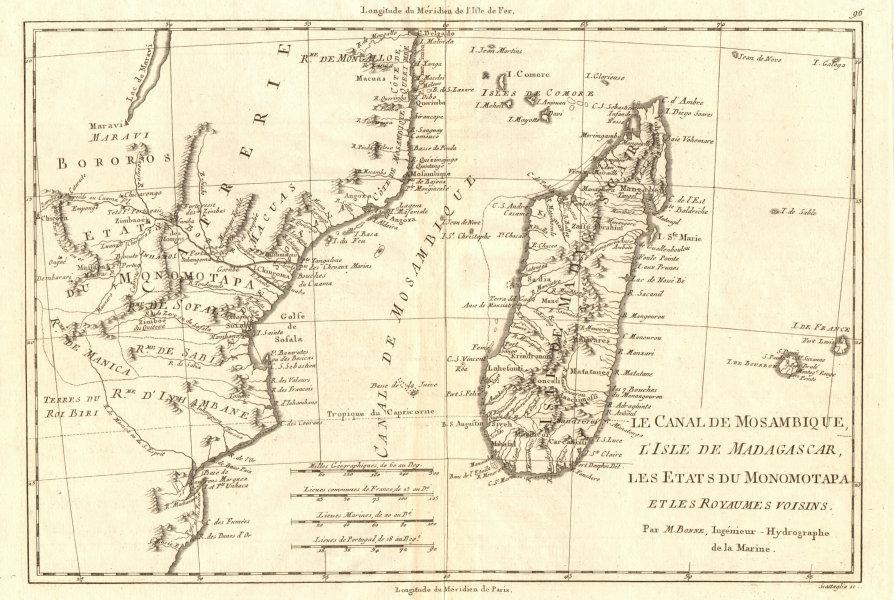 Associate Product Le Canal de Mosambique, l'Isle de Madagascar… Mozambique. Africa. BONNE 1790 map