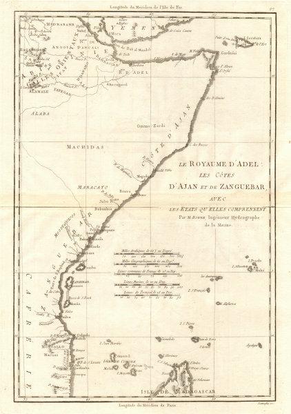 Le Royaume d'Adel… Ajan & Zanguebar. Adal Ajuran. Kenya Tanzania. BONNE 1790 map