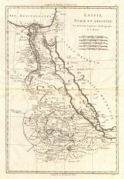 Associate Product Egypte, Nubie et Abissinie. Egypt, Nubia & Abyssinia. Sudan. BONNE 1790 map
