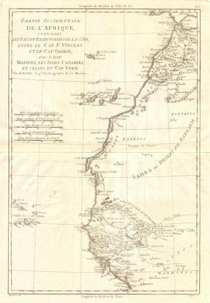 Associate Product Partie Occidentale de l'Afrique. West Africa coast Canary islands BONNE 1790 map