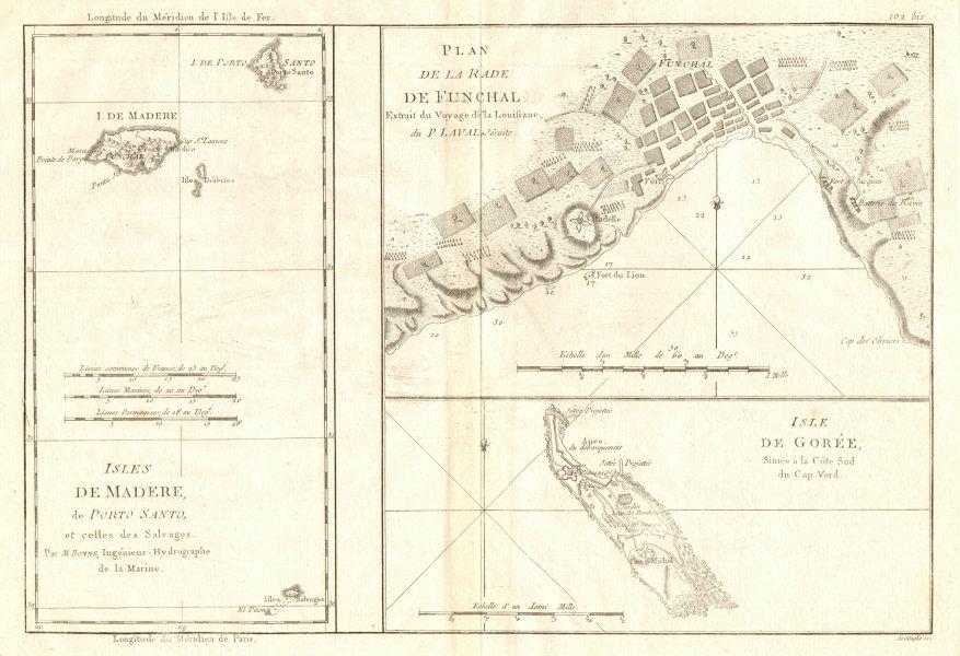 Associate Product Isles de Madere, Porto Santo & Gorée. Funchal harbour. Madeira. BONNE 1790 map