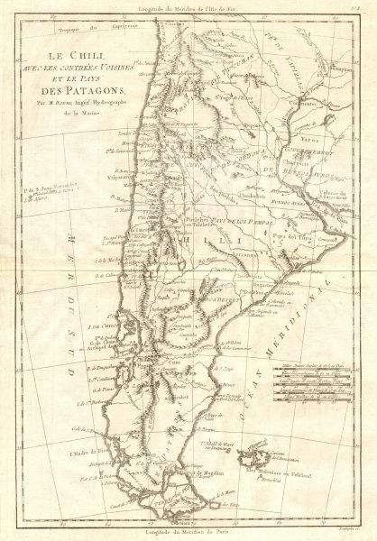 Associate Product Le Chili… et les pays des Patagons. Chile Argentina Patagonia. BONNE 1790 map