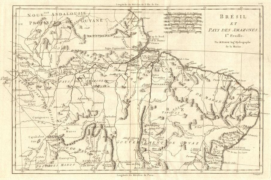 Bresil et Pays des Amazones, Ire feuille. Brazil & Amazonia. BONNE 1790 map