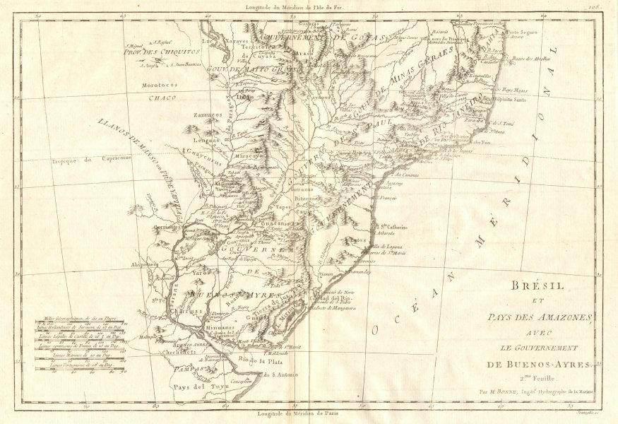 Associate Product Bresil… avec le Gouvernement de Buenos-Ayres. S Brazil Uruguay. BONNE 1790 map