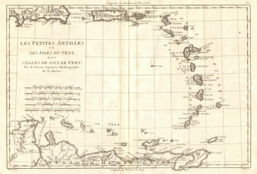 Associate Product Les Petites Antilles ou les Isles du Vent… West Indies Caribbean. BONNE 1790 map