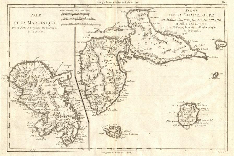 Associate Product Martinique, Guadeloupe, Marie-Galante, La Désirade & Saintes. BONNE 1790 map