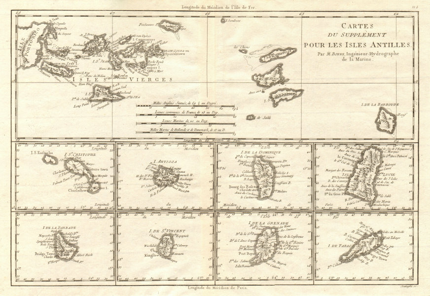 Associate Product Cartes de supplément pour les Isles Antilles. West Indies Islands BONNE 1790 map