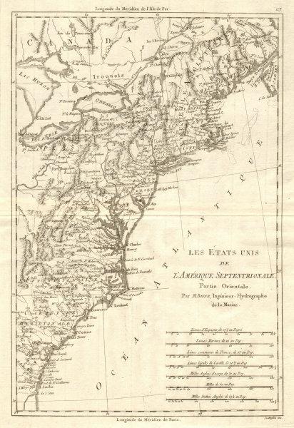 Associate Product Les Etats Unis de l'Amérique Septentrionale, partie Orientale. BONNE 1790 map
