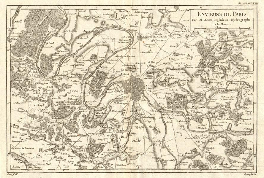 Associate Product Environs de Paris. Paris and environs. BONNE 1790 old antique map plan chart