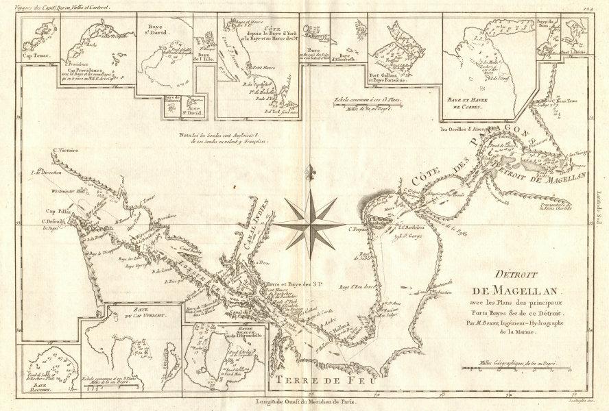 Associate Product Détroit de Magellan. Strait of Magellan. Chile. BONNE 1790 old antique map