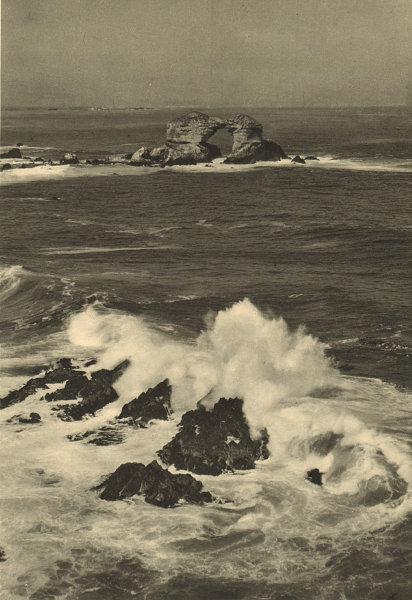 Associate Product CHILE. La Portada, Antofagasta. Obra de la fuerza destructora del mar 1932