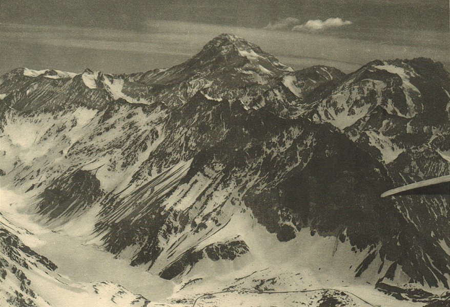 Associate Product CHILE. Aconcagua. Laguna del Inca. Estacion Portillo. Ski resort 1932 print