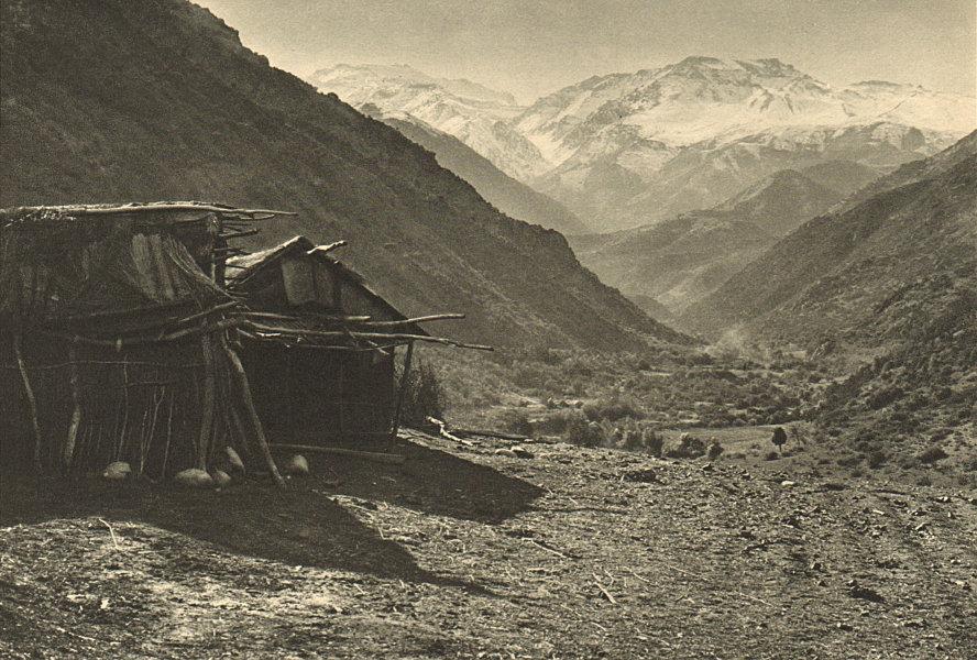 CHILE. Cerro El Plomo visto desde el valle del Rio San Francisco 1932 print