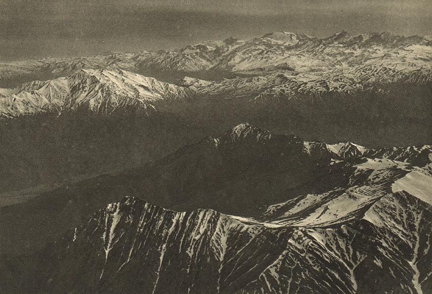Associate Product CHILE. Valle del Rio Maipu. Vista aerea Cordillera al Norte de Santiago 1 1932