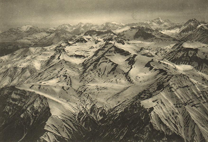 Associate Product CHILE. Valle del Rio Maipu. Vista aerea Cordillera al Norte de Santiago 2 1932