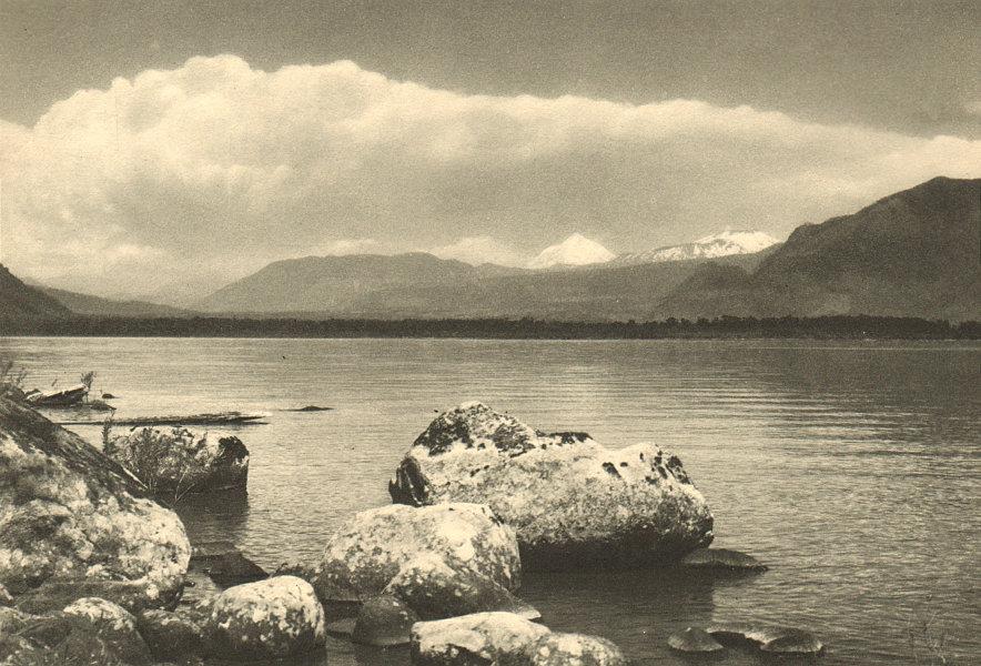 Associate Product CHILE. Lake / Lago Villarica. Volcanes Lanin y Quetrupillán. Volcanoes 1932