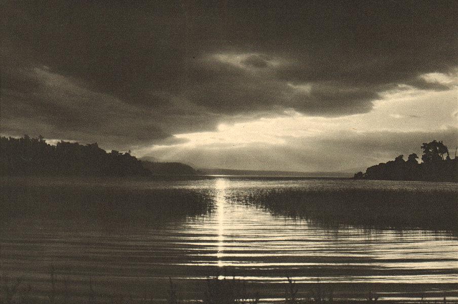 Associate Product CHILE. Lago / Lake Villarica (Pucón). Crepúsculo. Twilight 1932 old print
