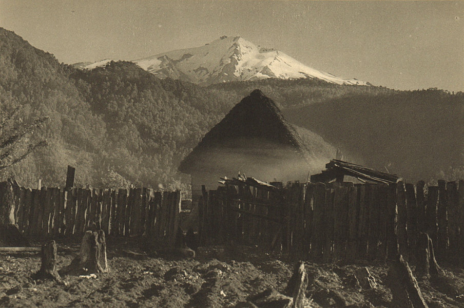 Associate Product CHILE. Huilo-Huilo. Volcan Chohuenco Volcano 1932 old vintage print picture