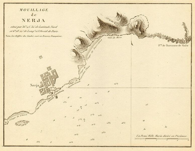 Associate Product Anchorage of Nerja. 'Mouillage de Nerja'. Spain. GAUTTIER 1851 old antique map