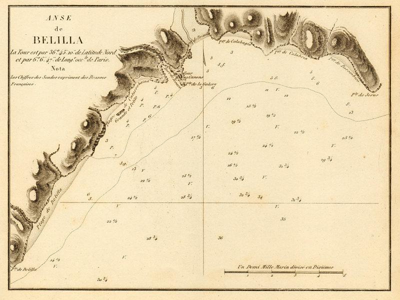 Playa de Velilla-Taramay. 'Anse de Belilla'. Spain. Granada. GAUTTIER 1851 map