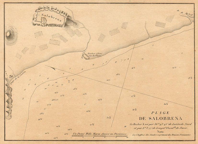 Associate Product Playas de Salobreña. 'Plage du Salobrena'. Spain. Granada. GAUTTIER 1851 map