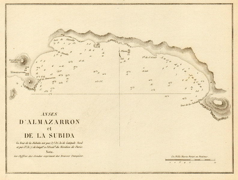 Associate Product Anses d'Almazarron et de la Subida. Spain Isla Plana La Azohia GAUTTIER 1851 map