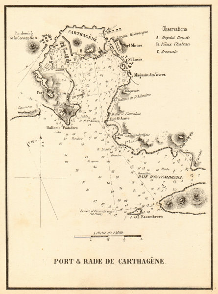 Cartagena Port & Roadstead 'Port & Rade de Carthagene'. Spain. GAUTTIER 1851 map