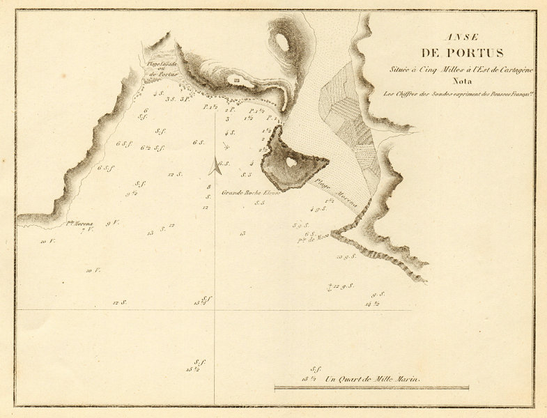 Associate Product El Portus. 'Anse de Portus'. Near Cartagena. Spain. GAUTTIER 1851 old map